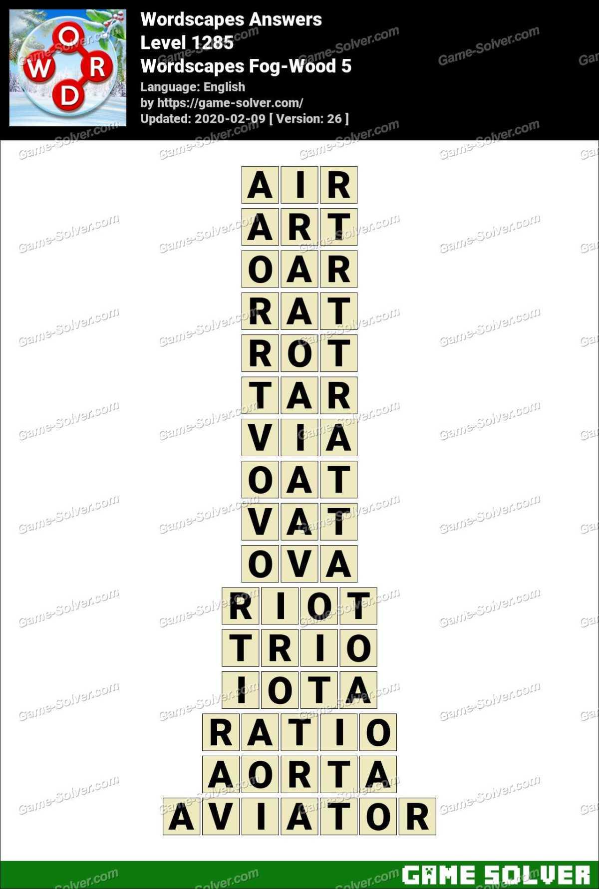 Wordscapes Fog-Wood 5 Answers