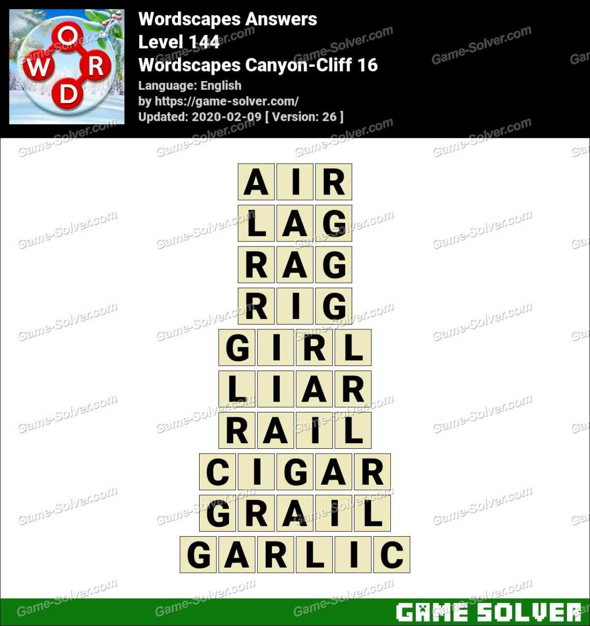Wordscapes Canyon Cliff 16 Answers Game Solver