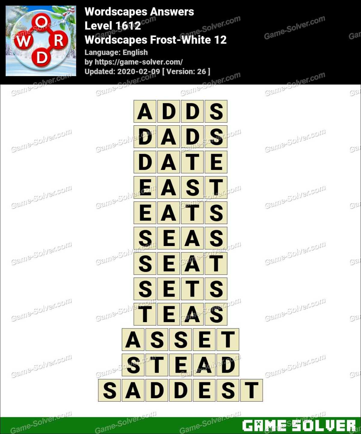 Wordscapes Frost-White 12 Answers