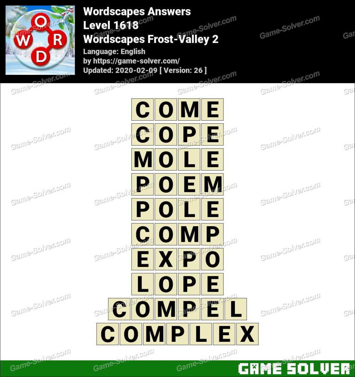 Wordscapes Frost-Valley 2 Answers