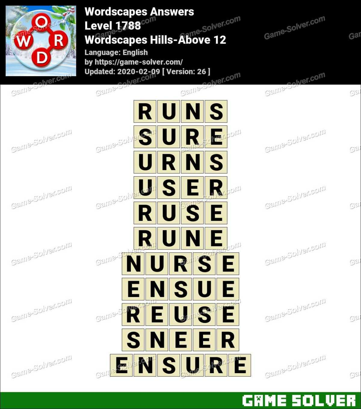 Wordscapes Hills-Above 12 Answers