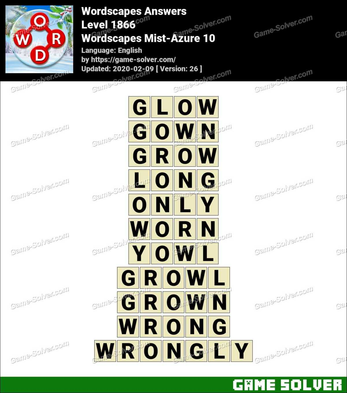 Wordscapes Mist-Azure 10 Answers