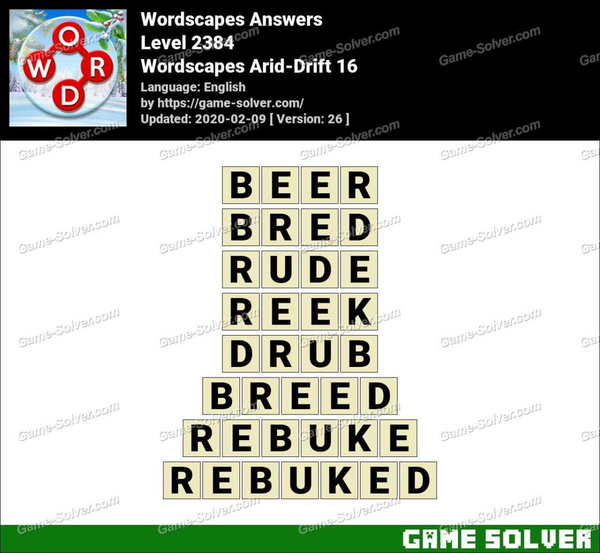 Wordscapes Arid-Drift 16 Answers