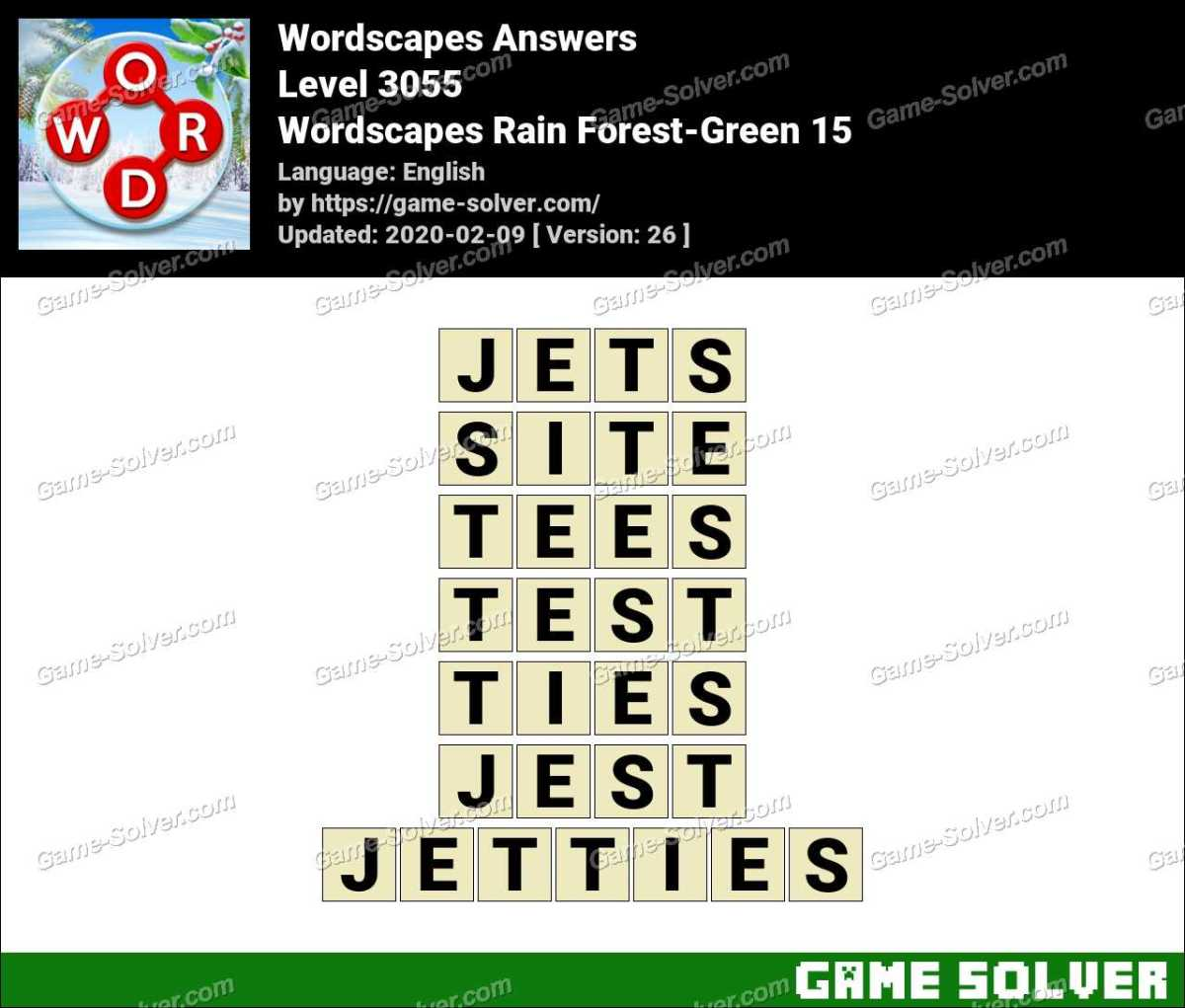 Wordscapes Rain Forest Green 15 Answers Game Solver