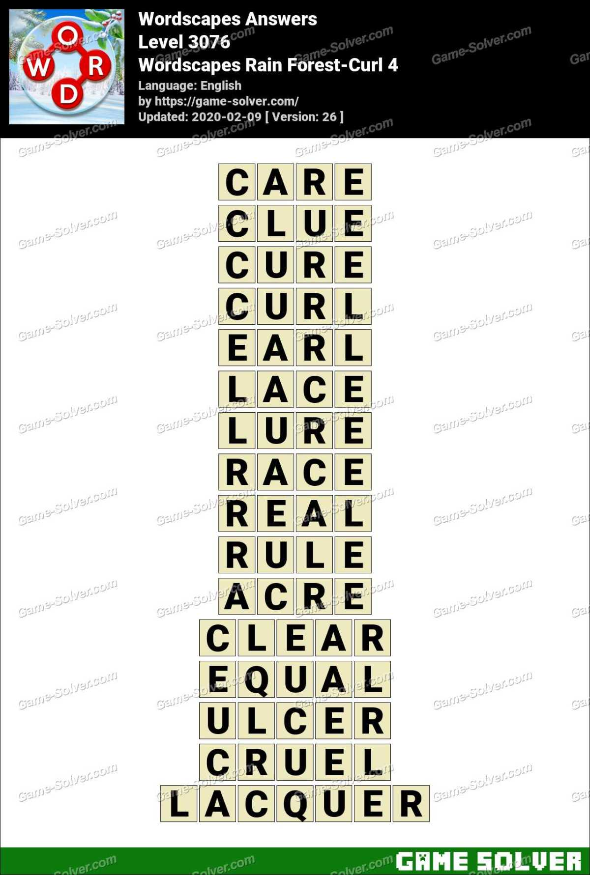Wordscapes Rain Forest-Curl 4 Answers