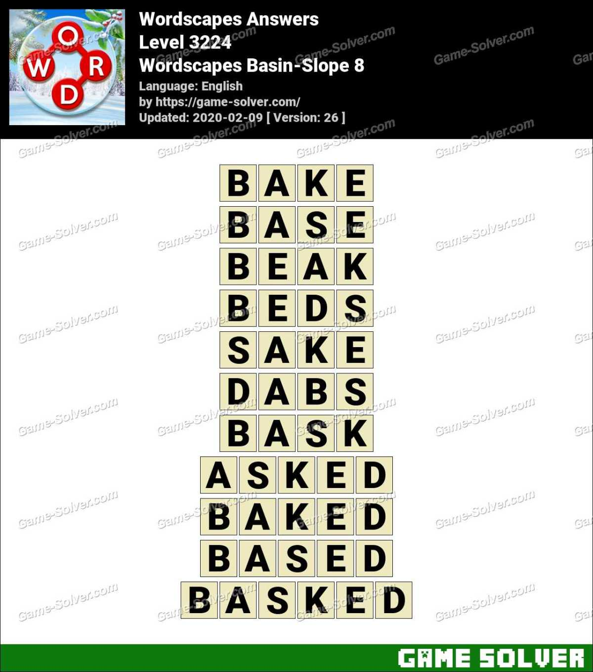 Wordscapes Basin-Slope 8 Answers