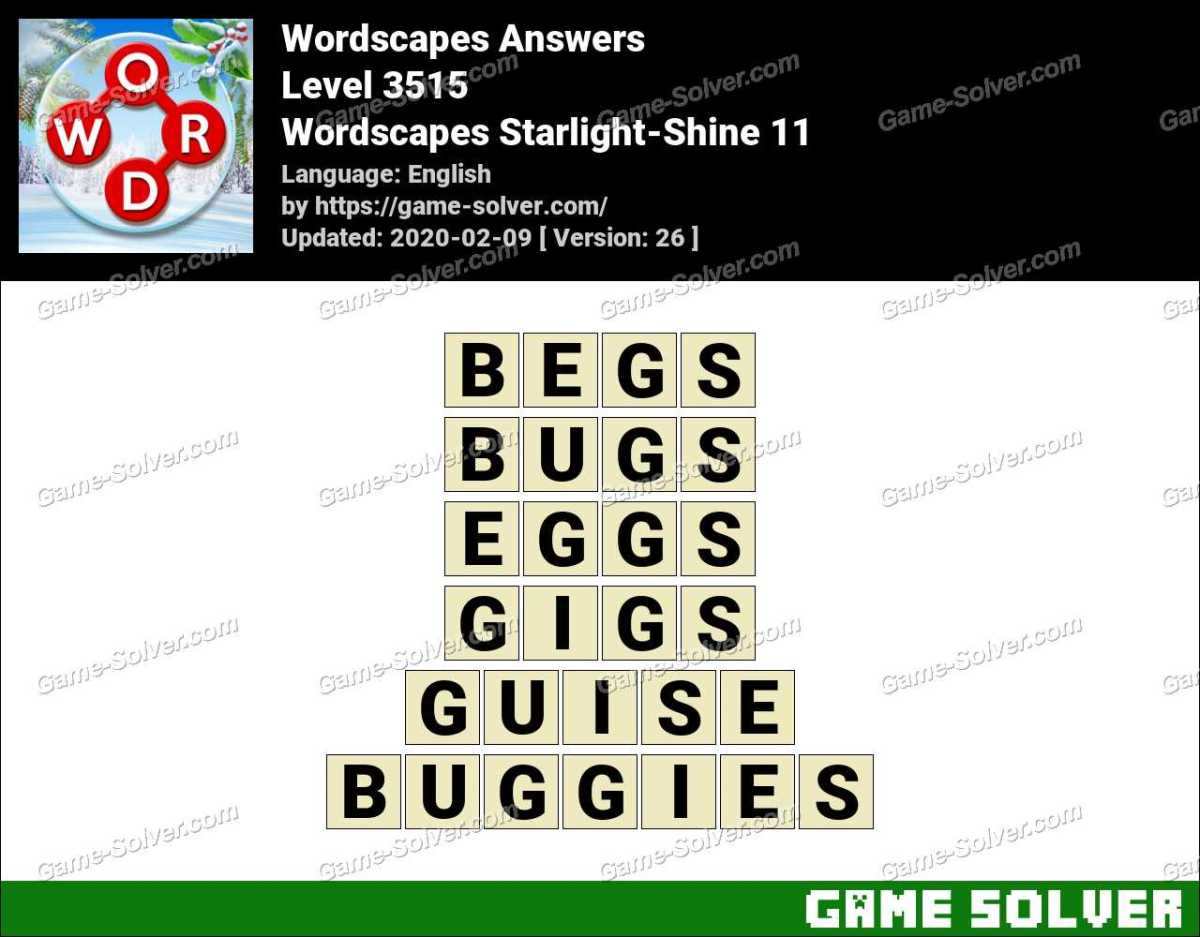 Wordscapes Starlight-Shine 11 Answers