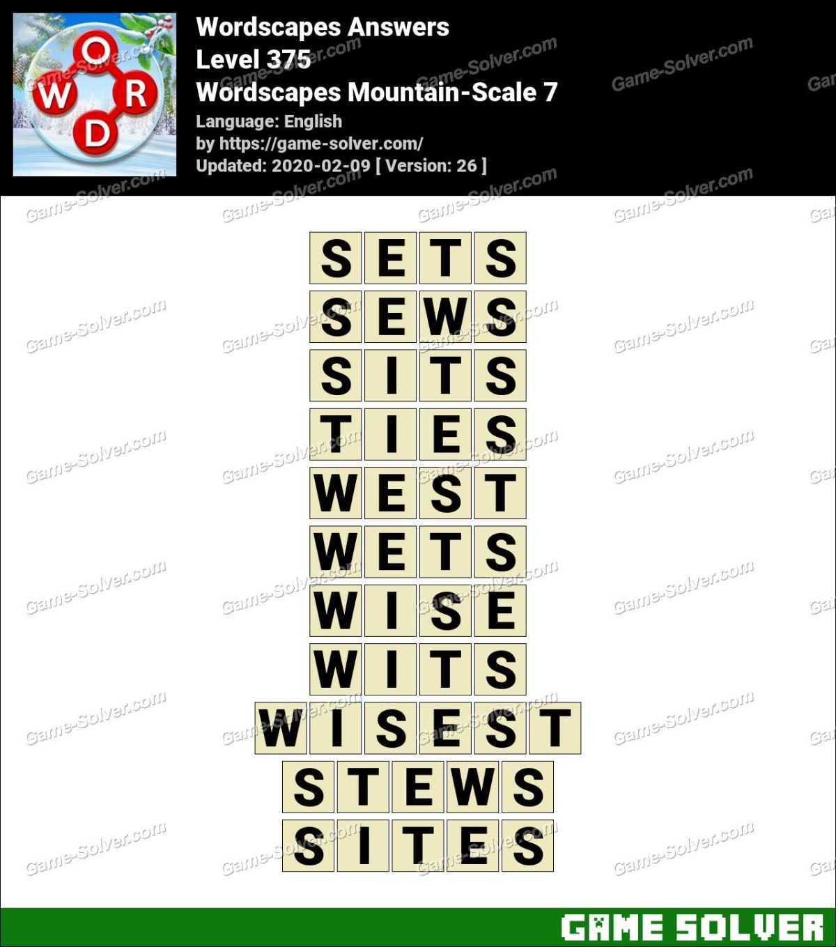 Wordscapes Mountain-Scale 7 Answers