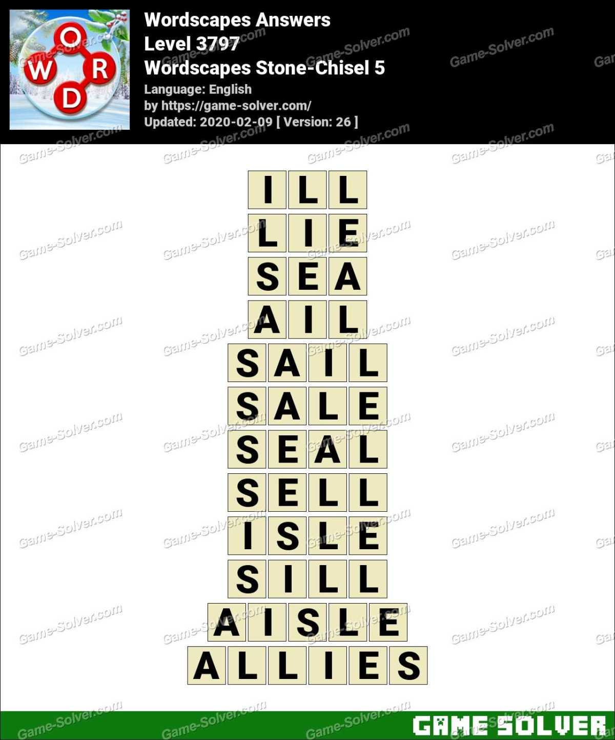 Wordscapes Stone-Chisel 5 Answers