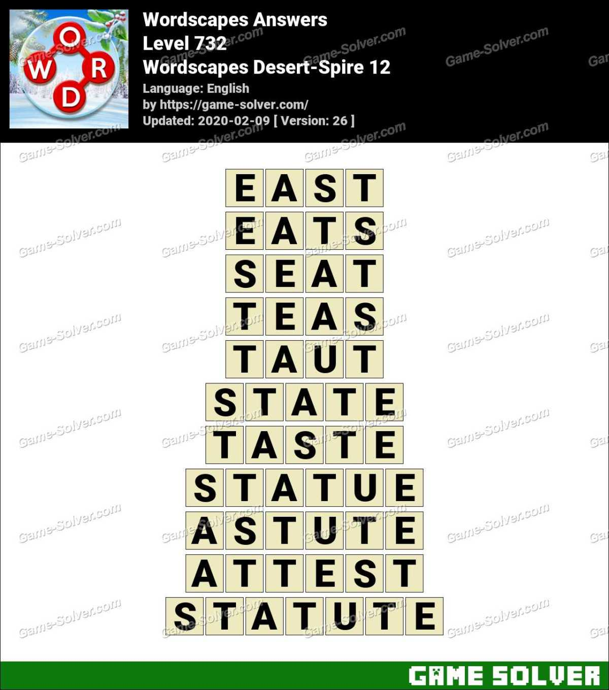 Wordscapes Desert-Spire 12 Answers