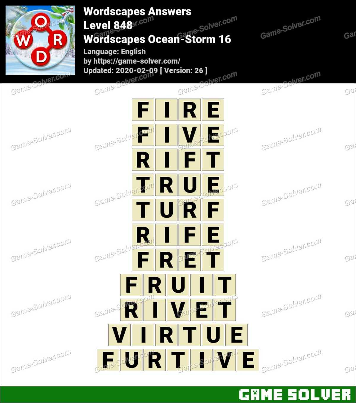 Wordscapes Ocean-Storm 16 Answers