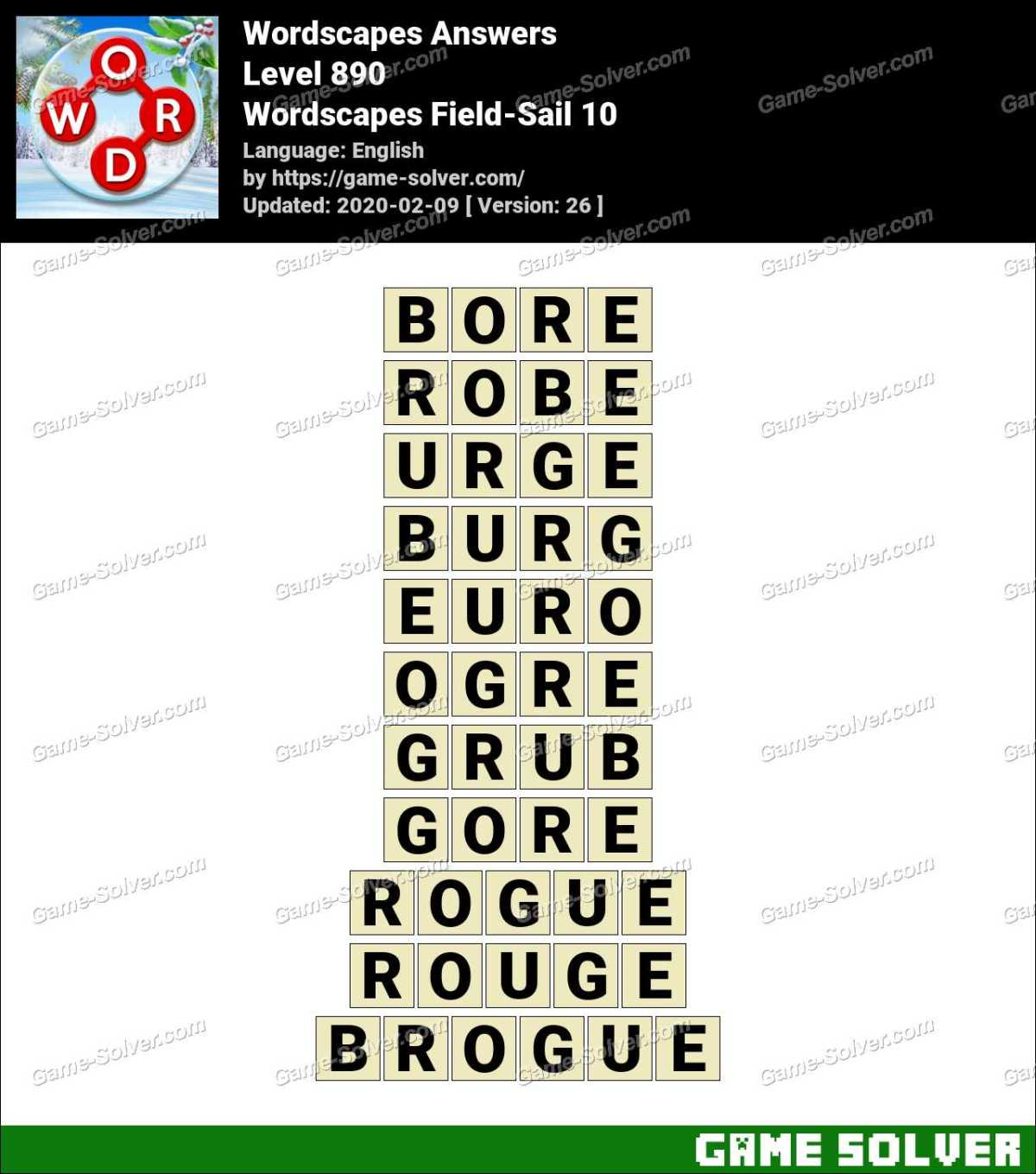 Wordscapes Field-Sail 10 Answers