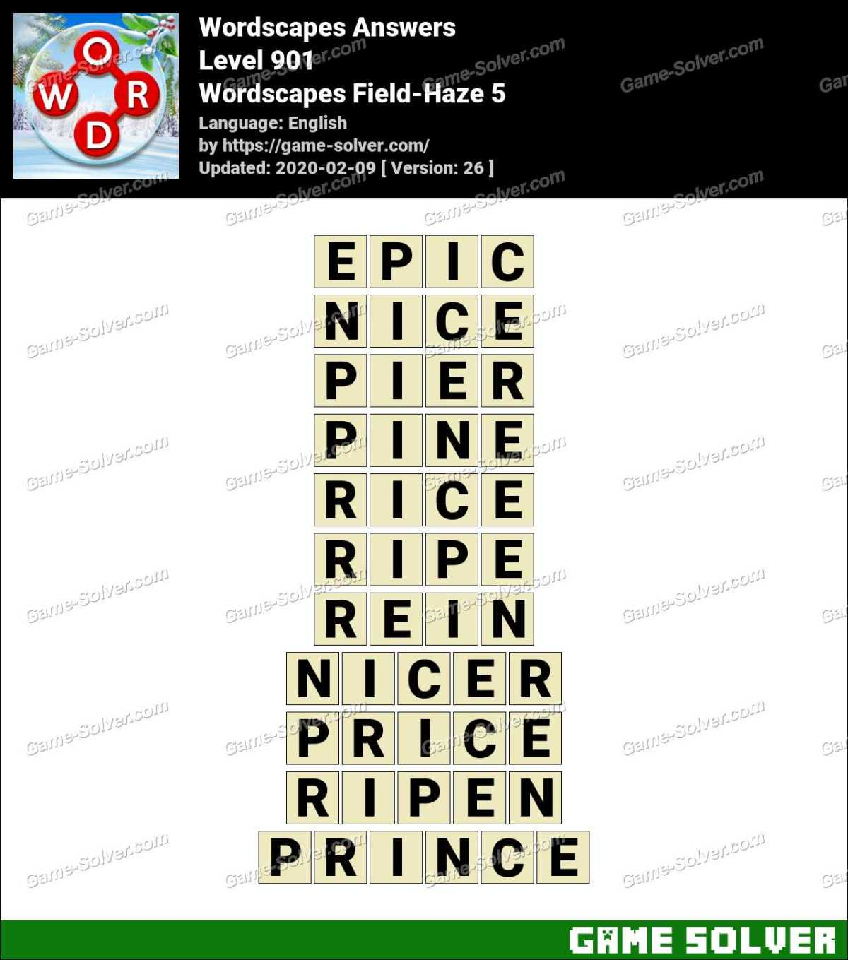 Wordscapes Field-Haze 5 Answers