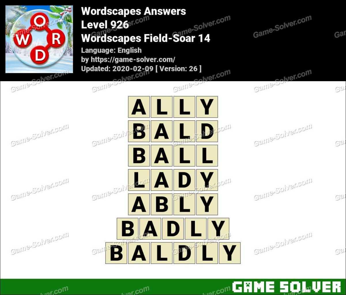Wordscapes Field-Soar 14 Answers