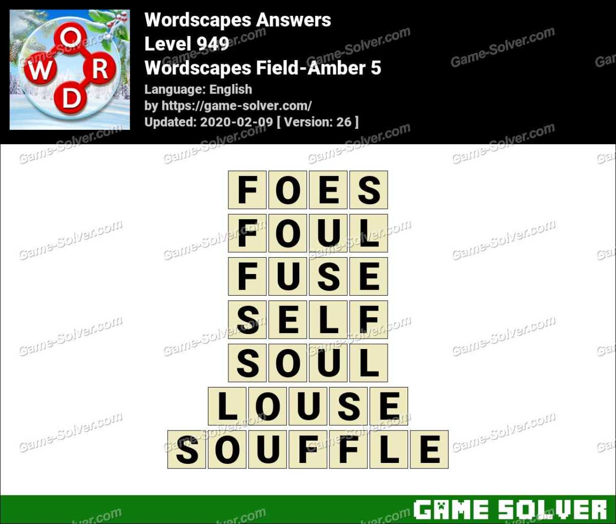 Wordscapes Field-Amber 5 Answers