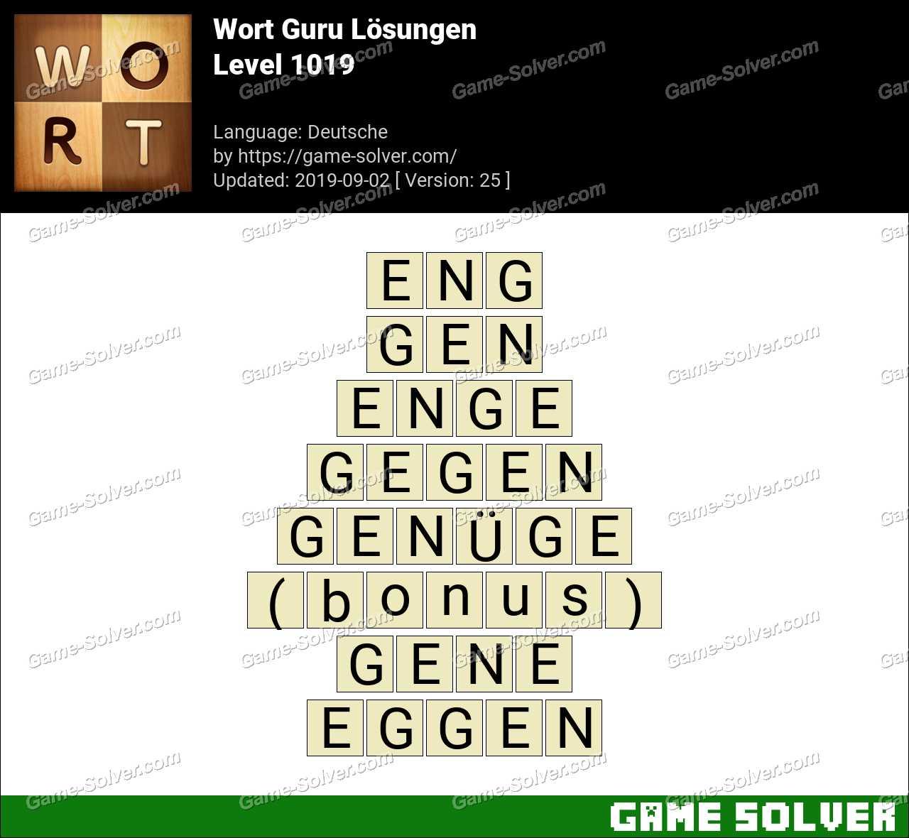 Wort Guru Level 1019 Lösungen