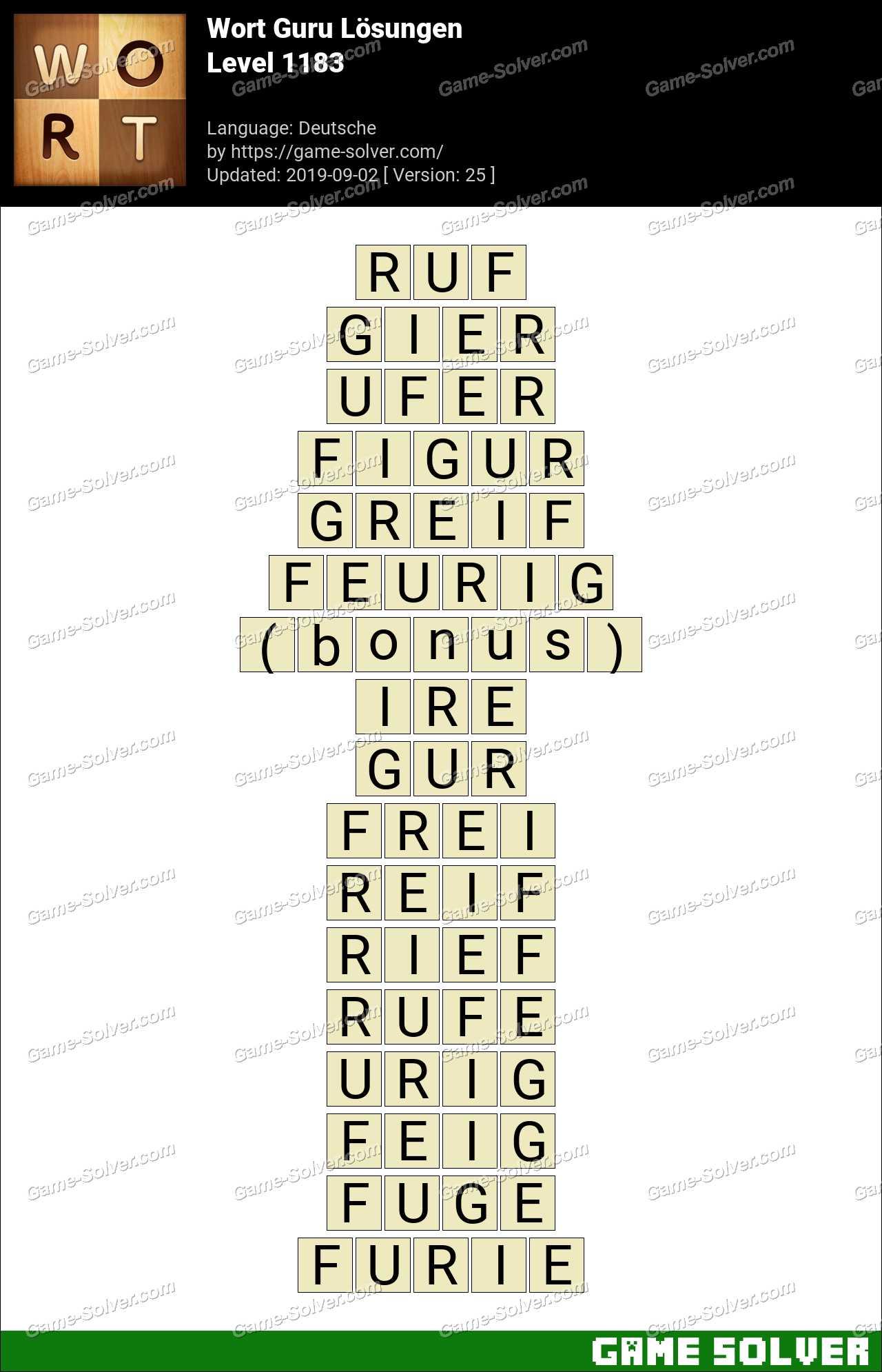 Wort Guru Level 1183 Lösungen
