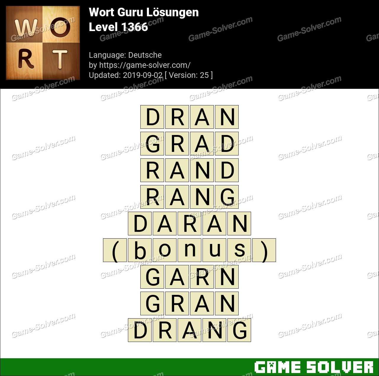 Wort Guru Level 1366 Lösungen