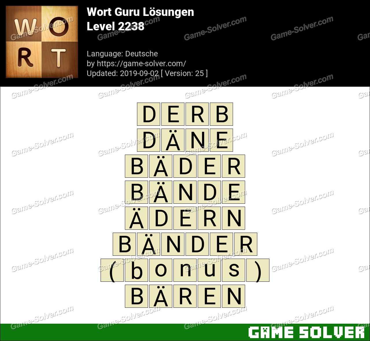 Wort Guru Level 2238 Lösungen