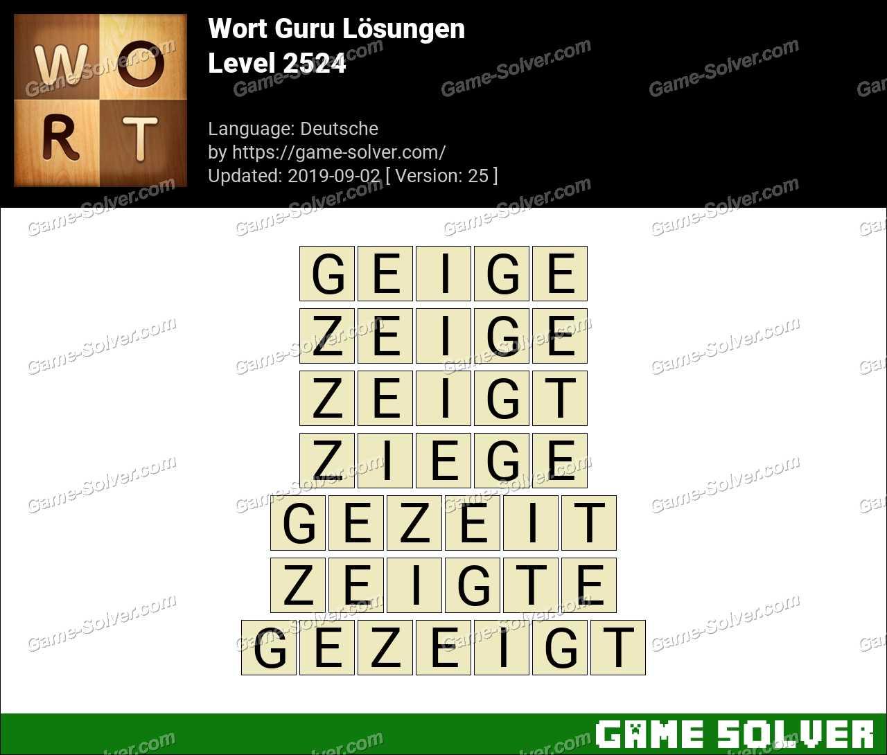 Wort Guru Level 2524 Lösungen