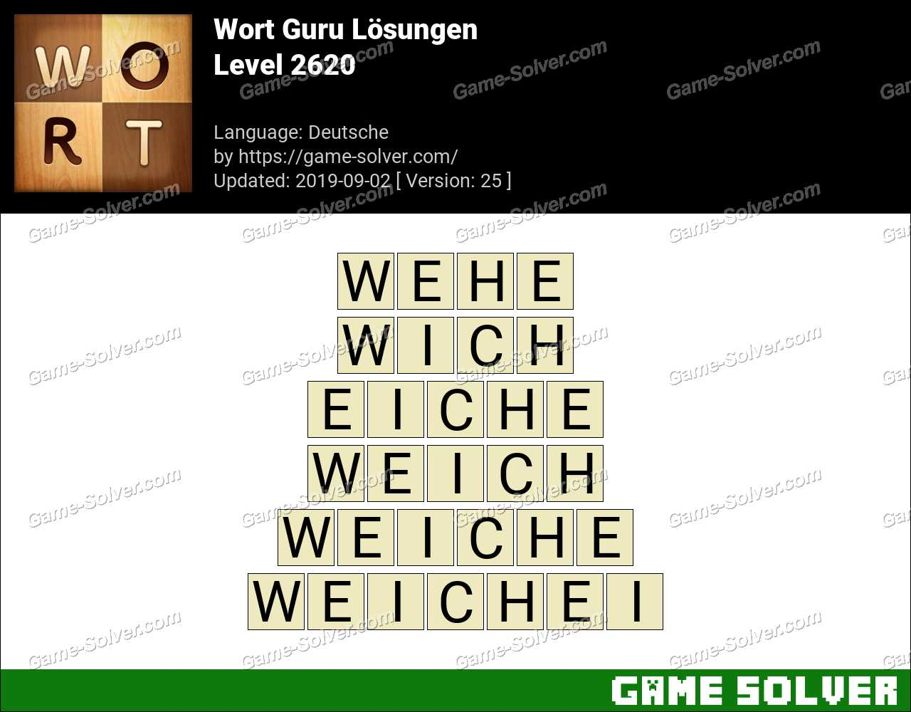 Wort Guru Level 2620 Lösungen