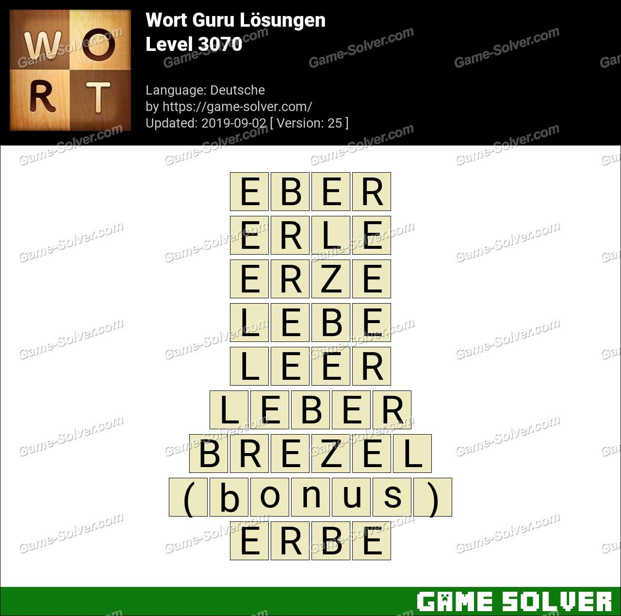 Wort Guru Level 3070 Lösungen