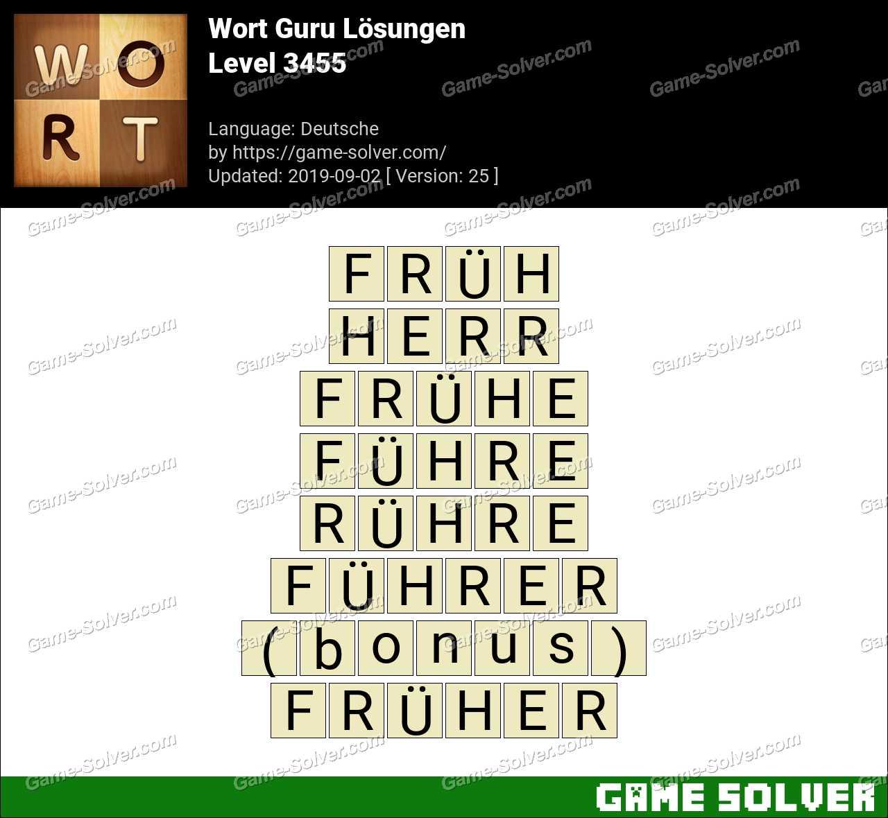 Wort Guru Level 3455 Lösungen
