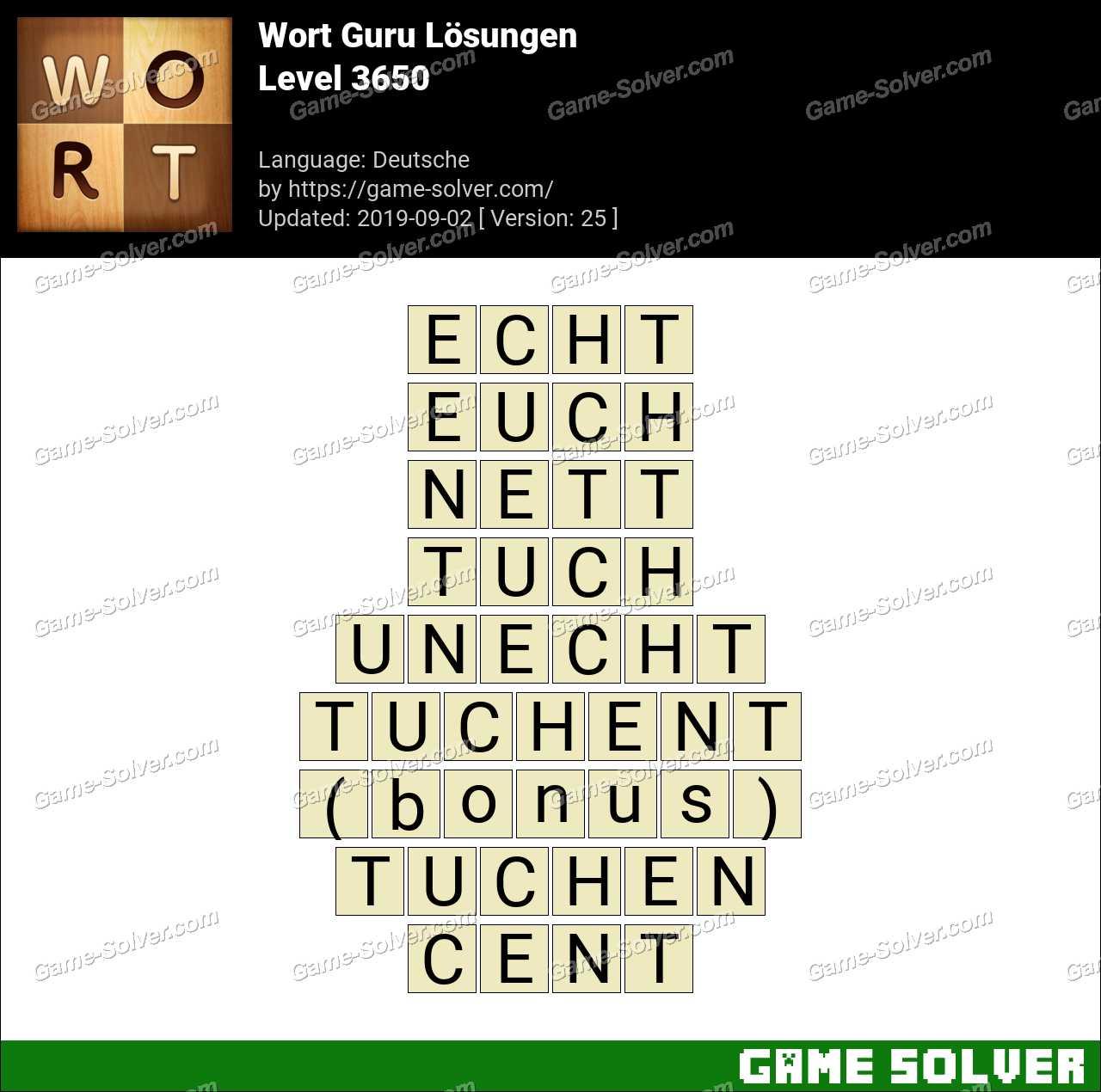 Wort Guru Level 3650 Lösungen
