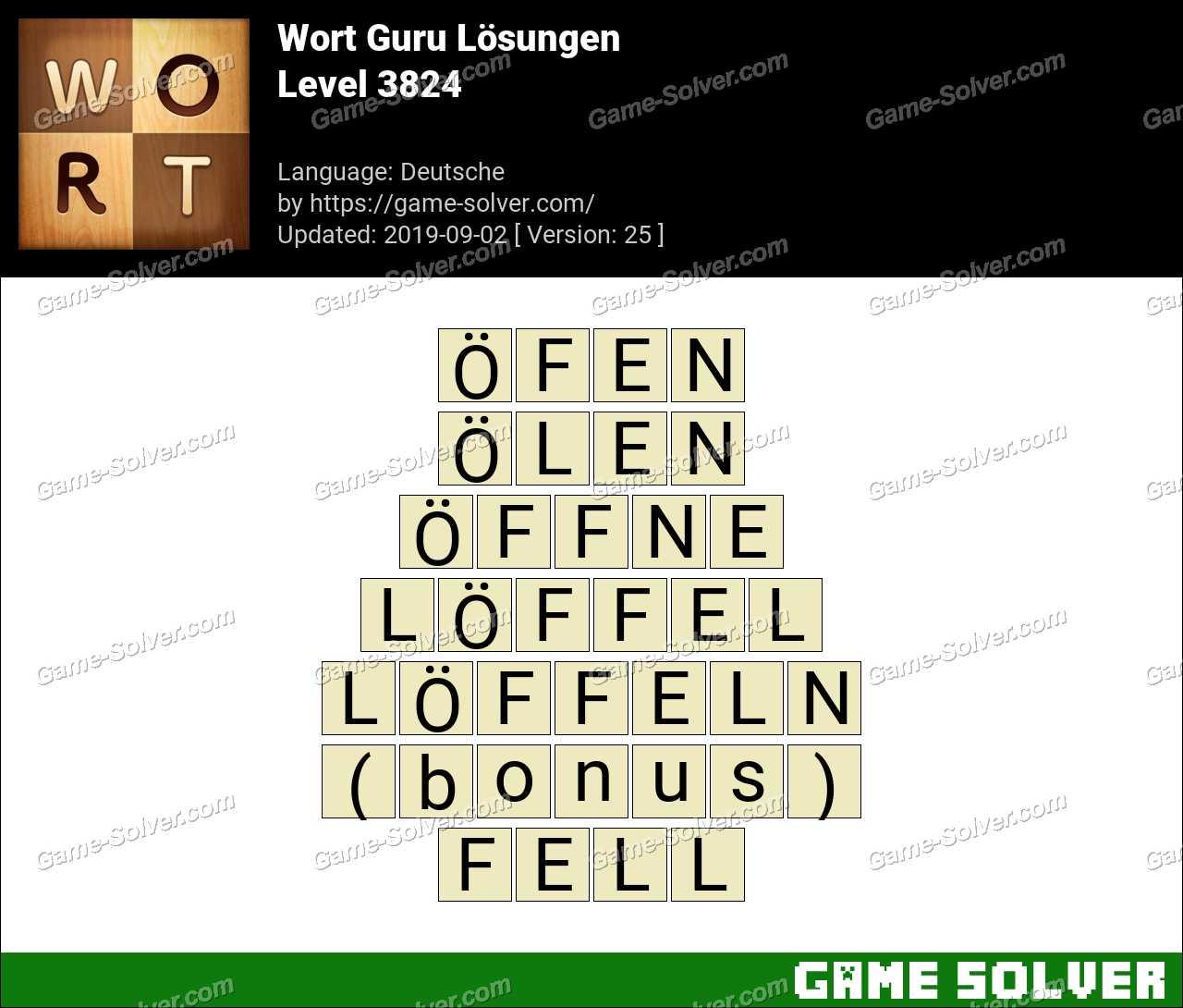 Wort Guru Level 3824 Lösungen