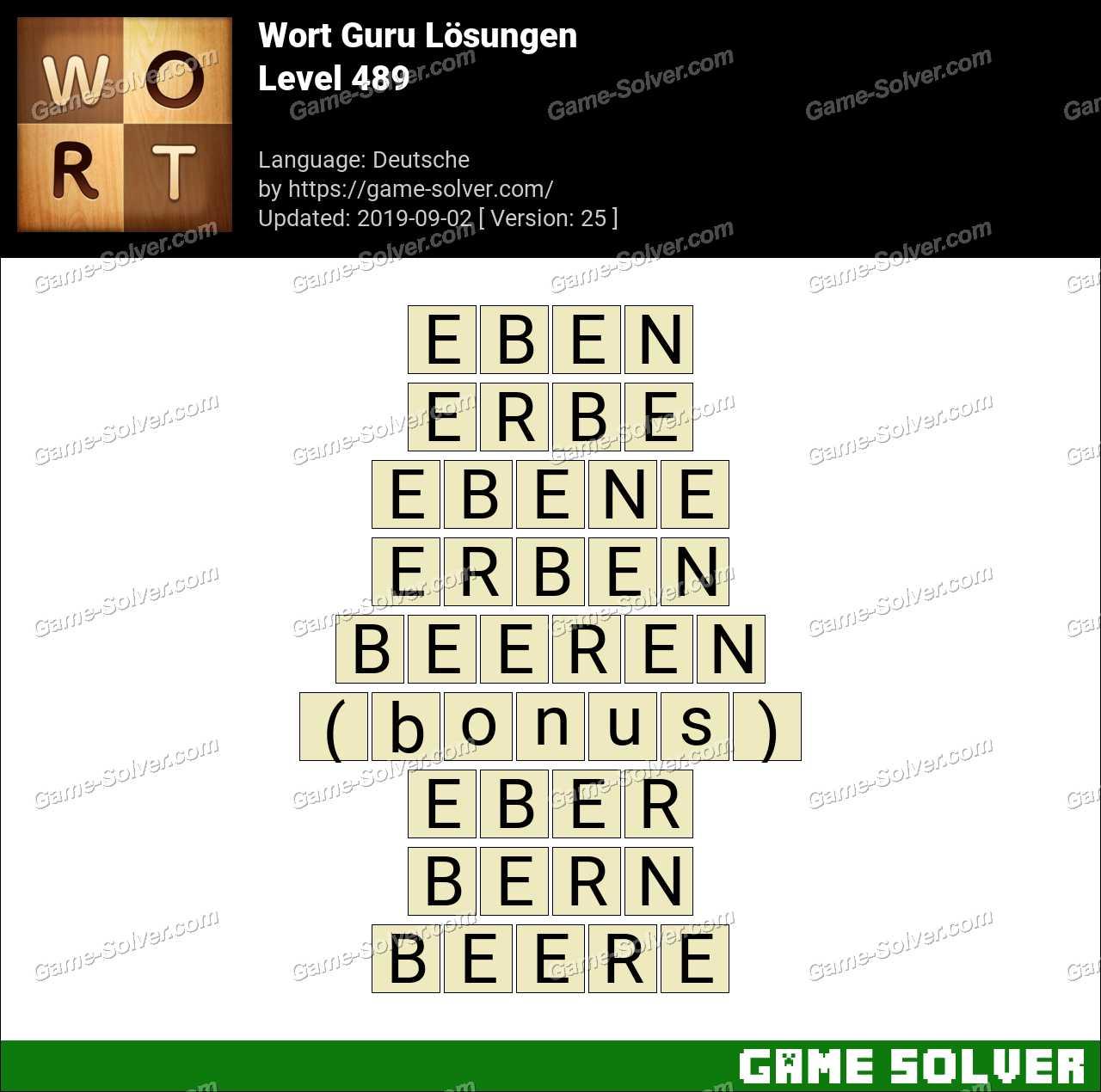 Wort Guru Level 489 Lösungen