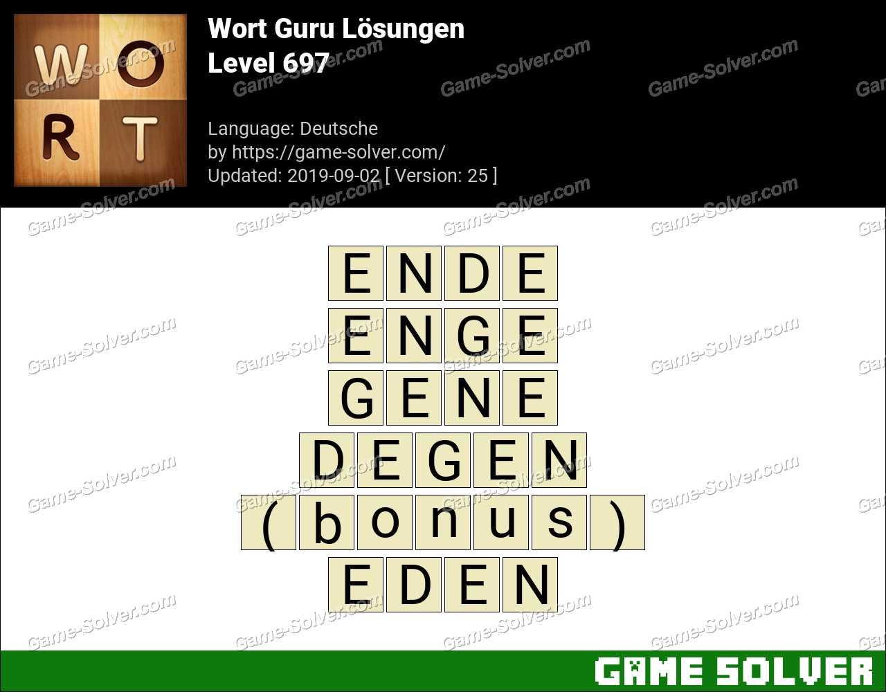 Wort Guru Level 697 Lösungen