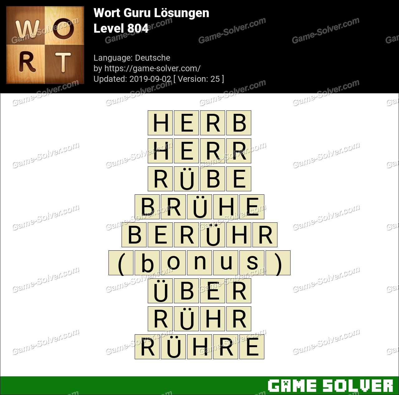 Wort Guru Level 804 Lösungen