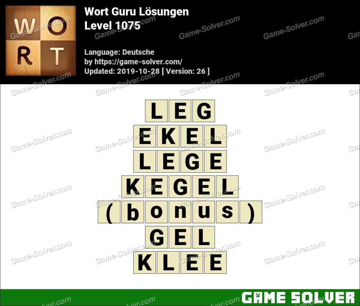 Wort Guru Level 1075 Lösungen