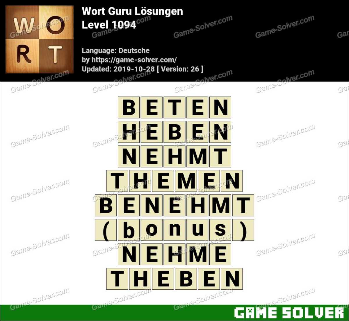 Wort Guru Level 1094 Lösungen
