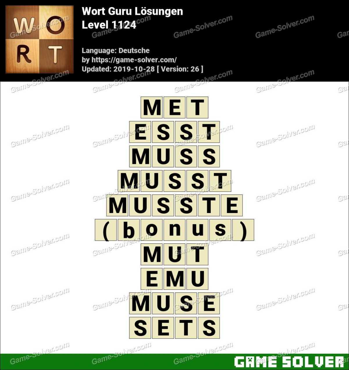 Wort Guru Level 1124 Lösungen