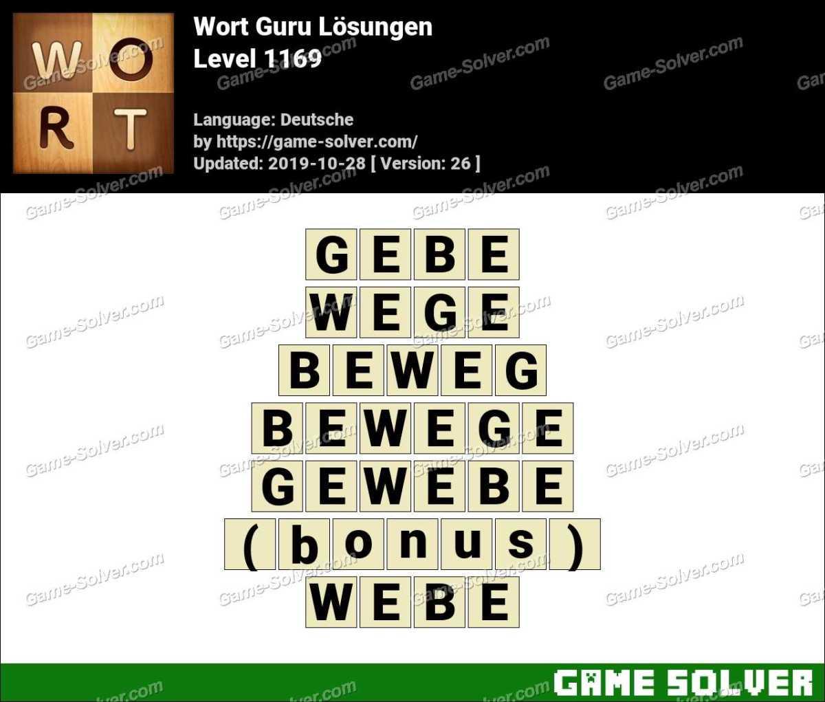 Wort Guru Level 1169 Lösungen