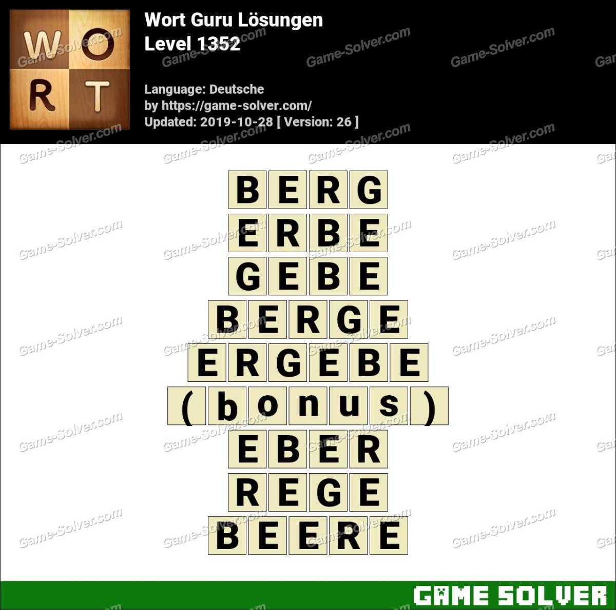 Wort Guru Level 1352 Lösungen