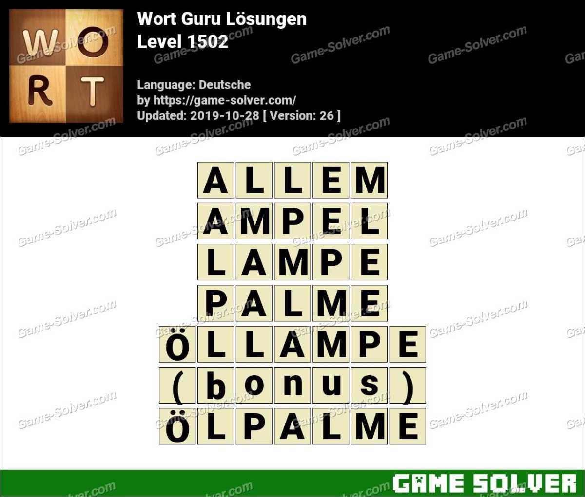 Wort Guru Level 1502 Lösungen