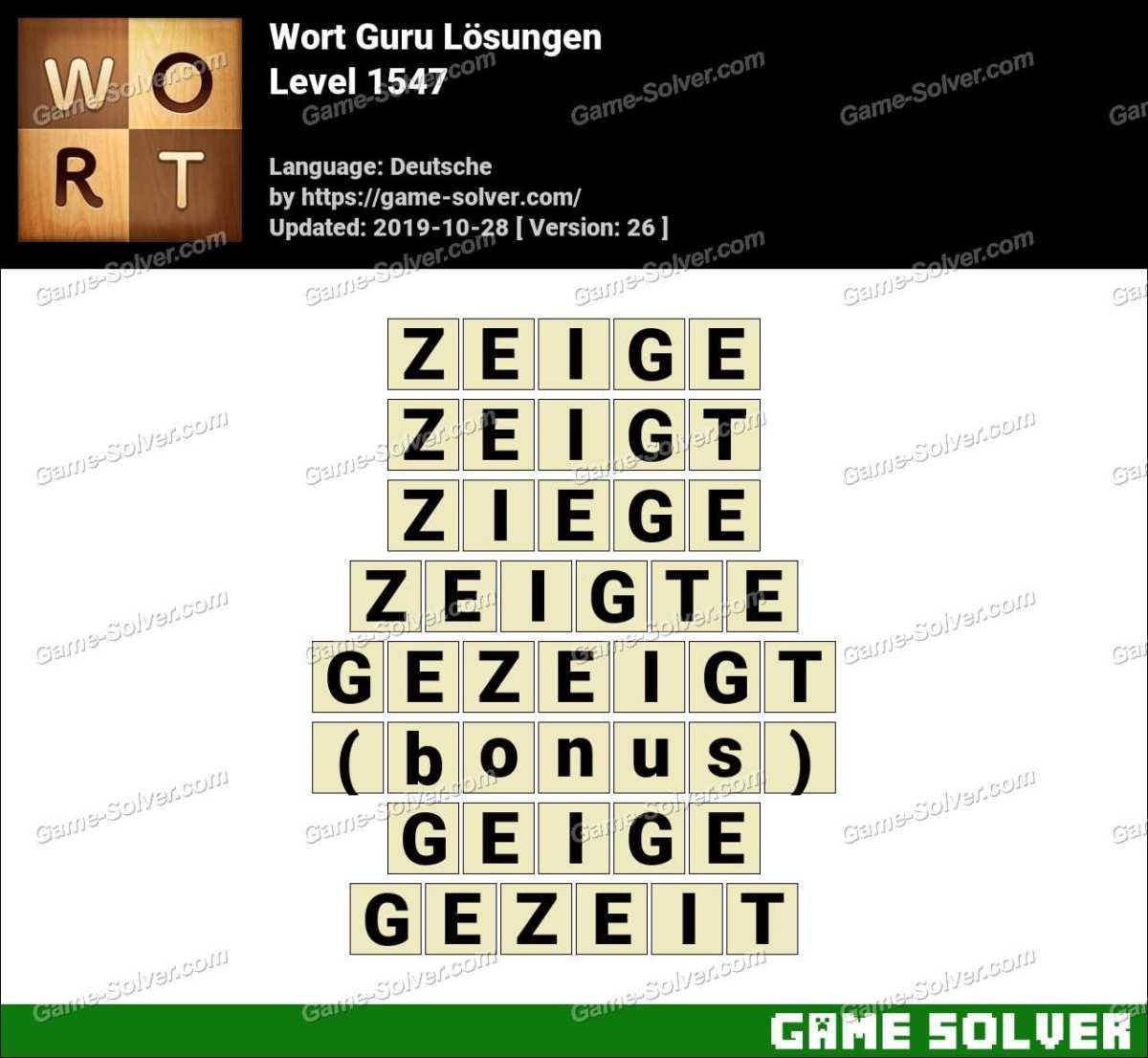 Wort Guru Level 1547 Lösungen