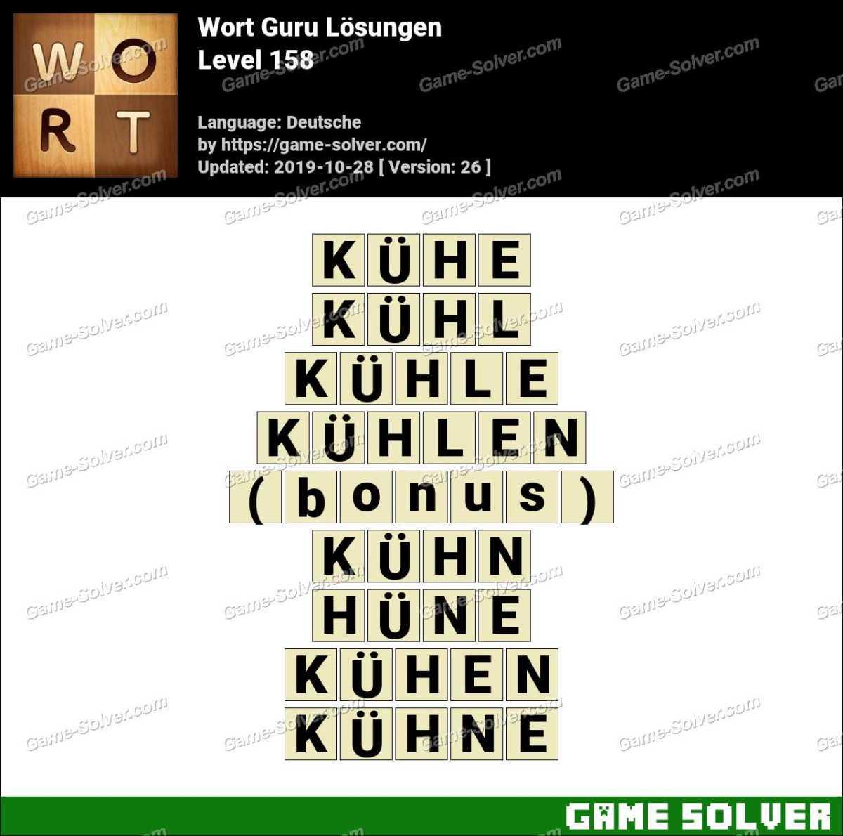 Wort Guru Level 158 Lösungen