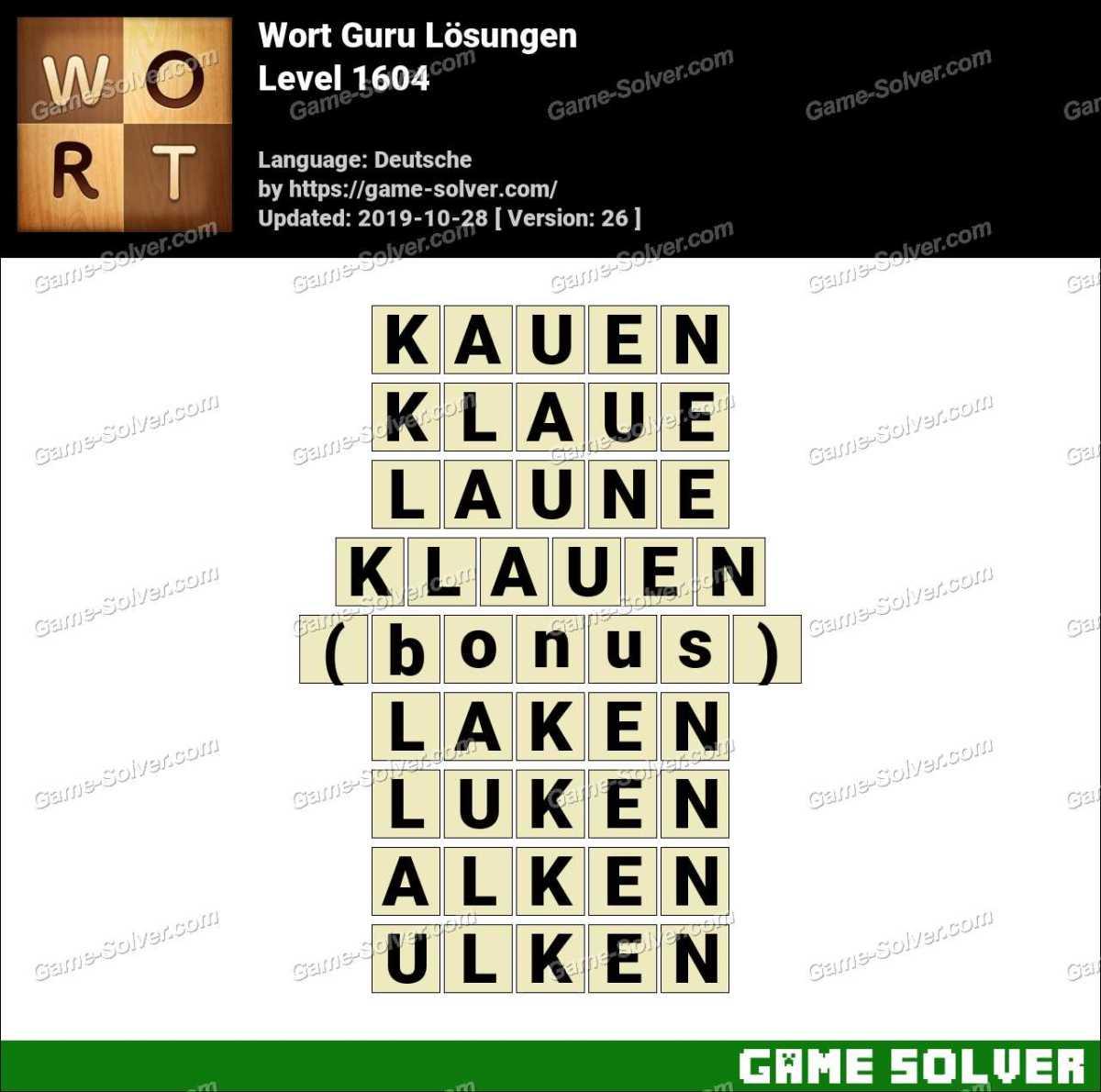 Wort Guru Level 1604 Lösungen