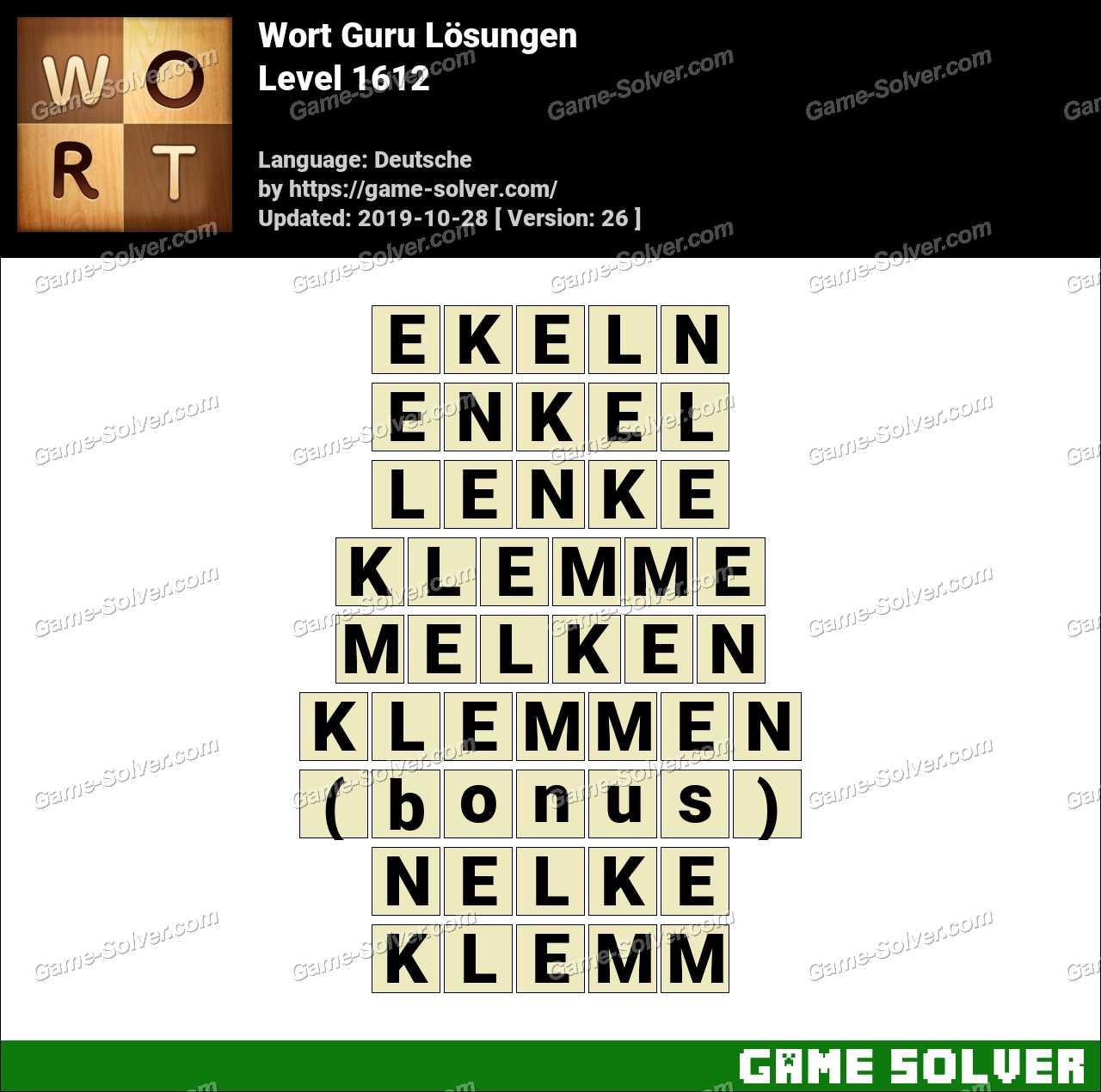 Wort Guru Level 1612 Lösungen