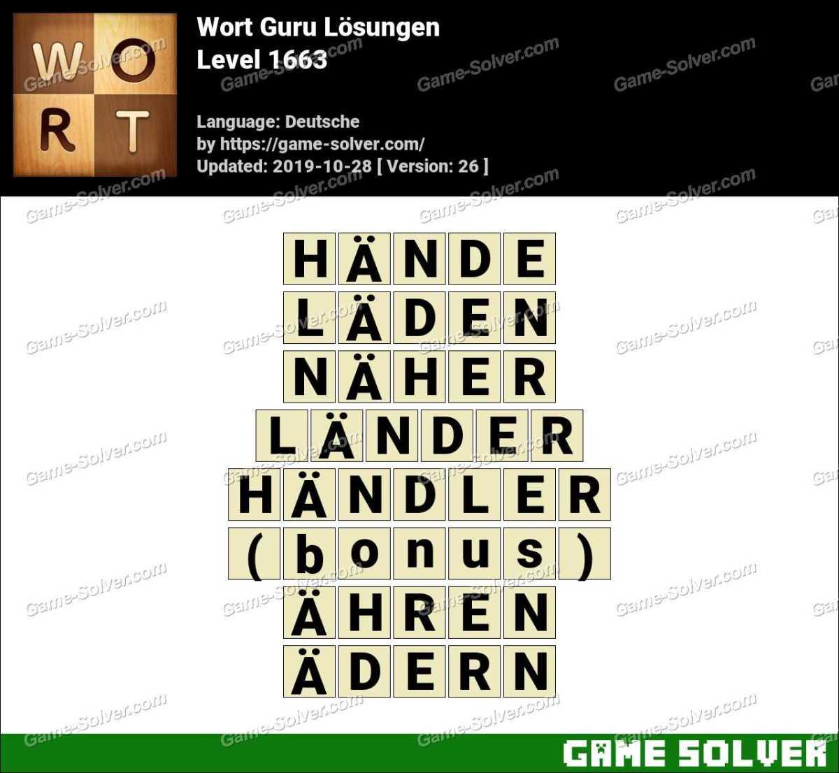 Wort Guru Level 1663 Lösungen
