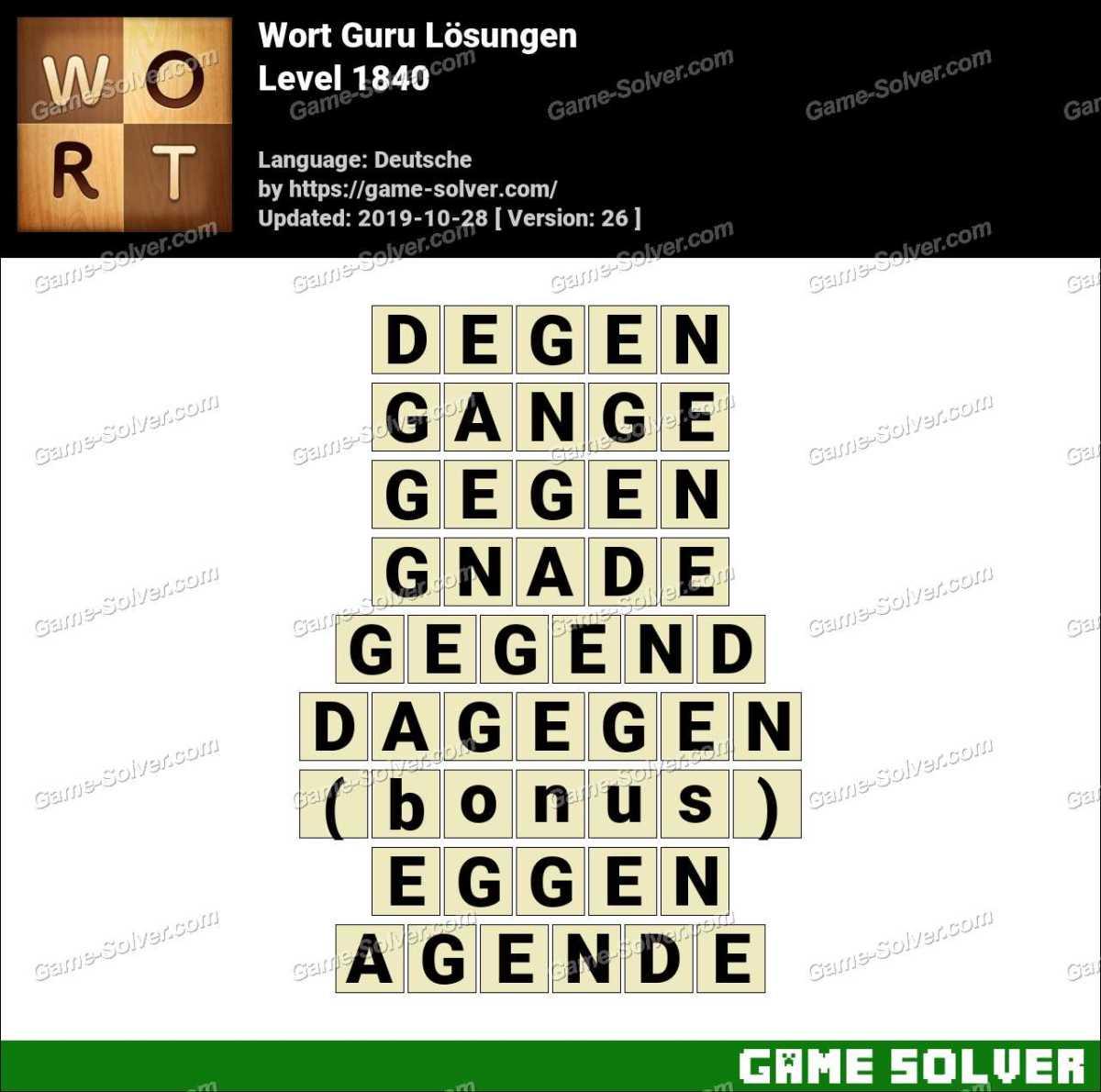 Wort Guru Level 1840 Lösungen