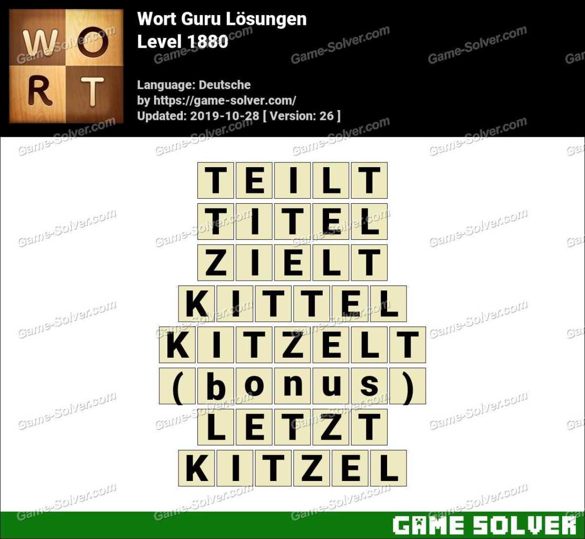 Wort Guru Level 1880 Lösungen