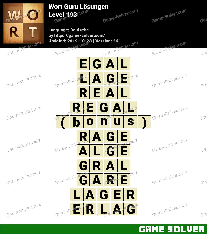 Wort Guru Level 193 Lösungen
