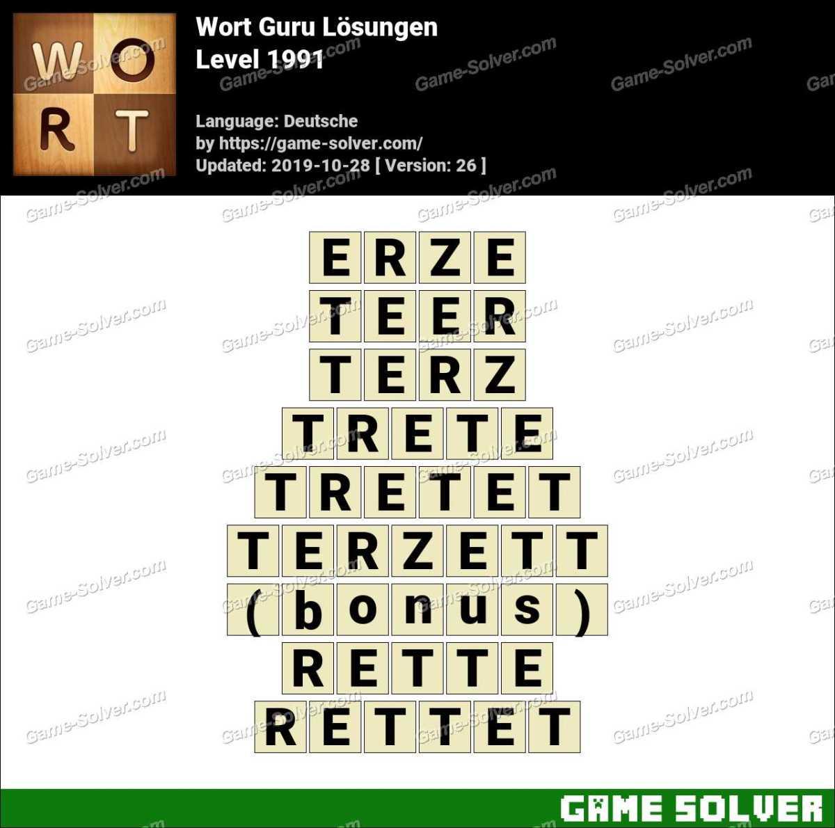 Wort Guru Level 1991 Lösungen