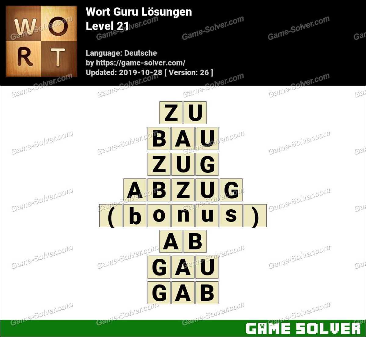 Wort Guru Level 21 Lösungen