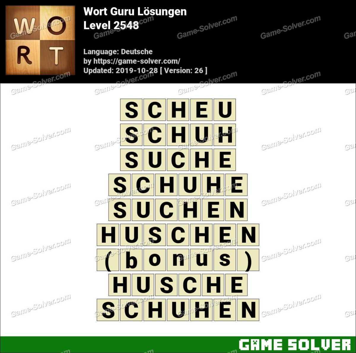Wort Guru Level 2548 Lösungen