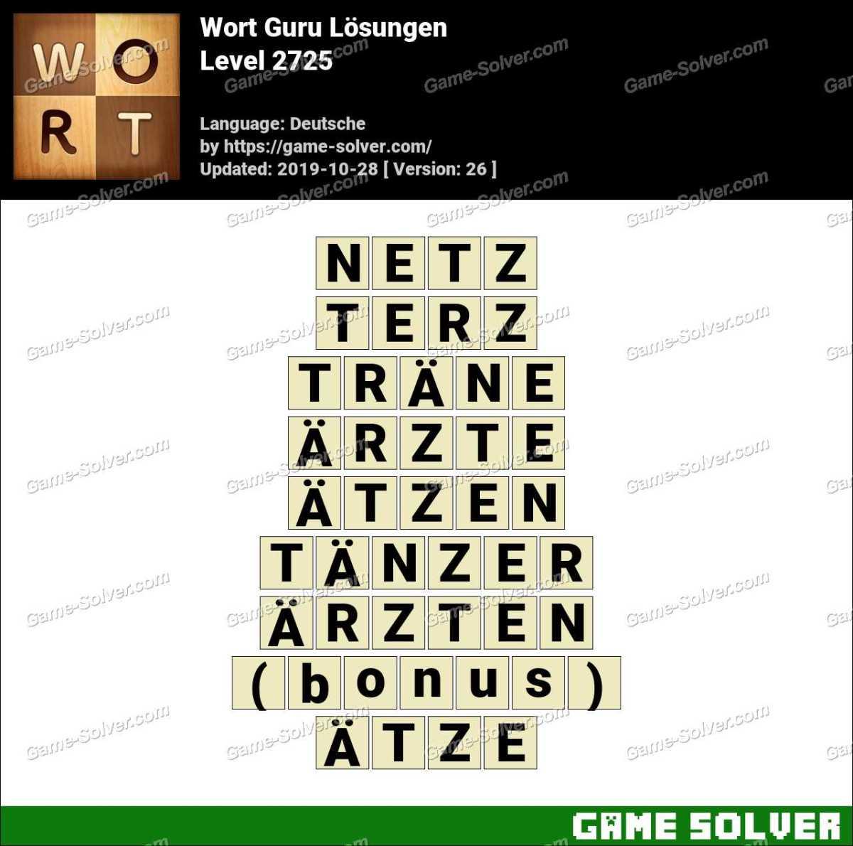 Wort Guru Level 2725 Lösungen